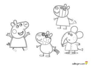 Imágenes para colorear amigos Peppa Pig: Emily Elephant, Zoe Zebra y Pedro Pony