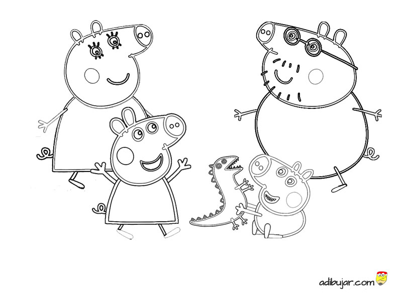 Familia Pig para colorear. Peppa Pig | adibujar.com