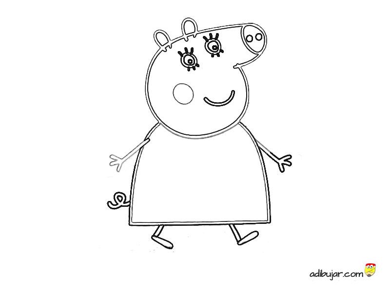 Mamá Pig para colorear | adibujar.com