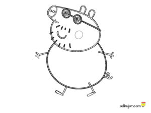 Dibujo para colorear Daddy Pig. Papá Pig, el padre de Peppa