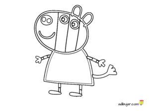 Imágenes para colorear Zoe Zebra. Amigos Peppa Pig. Animales Cebra