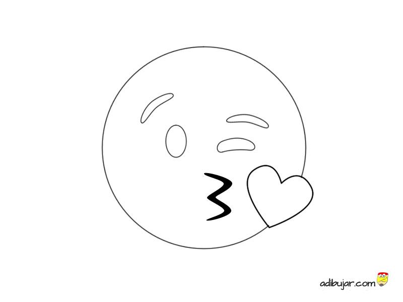 Dibujo Para Colorear Emoticono Beso Corazón Adibujarcom