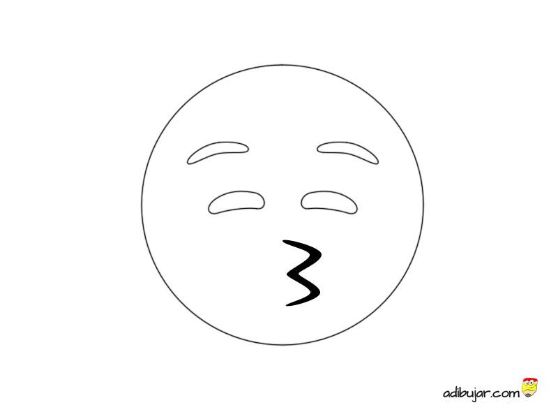 Dibujo emoji beso simple ojos cerrados 800x600 | adibujar.com