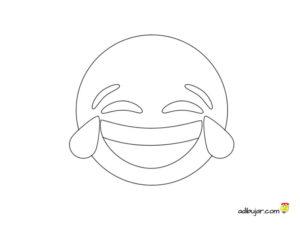 Imagen para colorear de emoticono partiendose de la risa