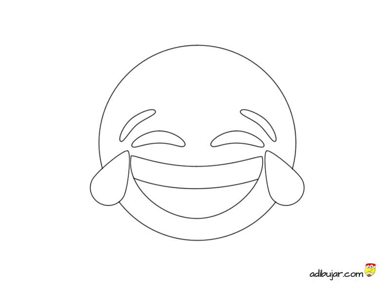 Emoticon carcajada para imprimir y colorear XD | adibujar.com