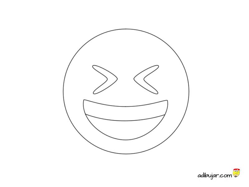 Imagen para colorear emoji risa | adibujar.com