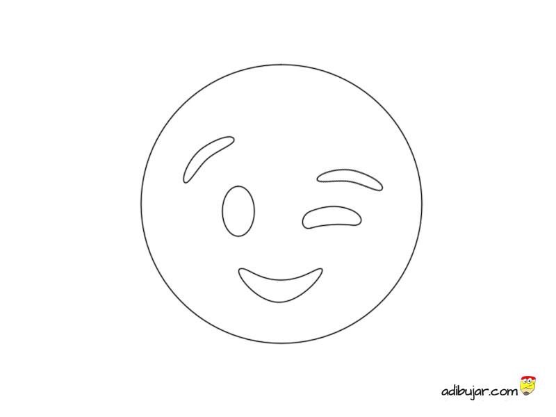 Emoticon guiño para imprimir y colorear | adibujar.com