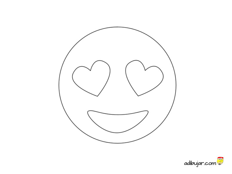 Emoticon con ojos corazon para colorear | adibujar.com