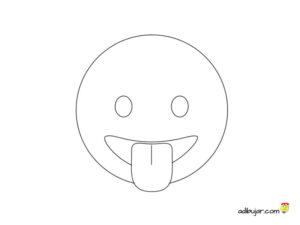Emoticono whatsapp para dibujar y colorear saca la lengua