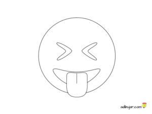 Emoticono whatsapp para dibujar y colorear saca la lengua y ojos cerrados
