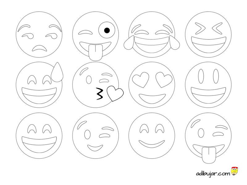 Emoticonos Para Colorear Colección De 12 Dibujos 800x600 Adibujarcom
