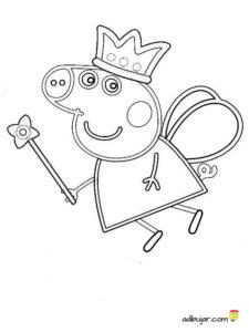 Dibujo para colorear a Peppa Pig hada