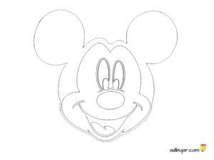 Cabeza de Mickey Mouse para calcar y colorear
