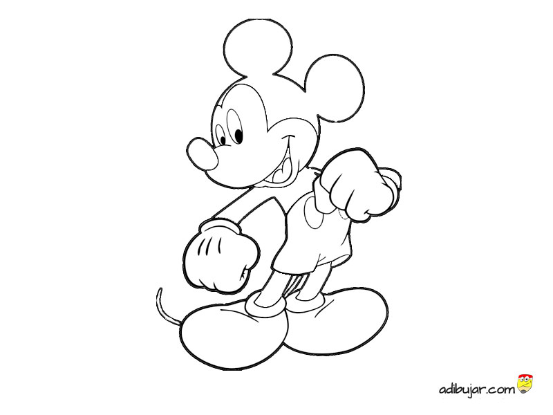 Dibujo De Mickey Mouse Entero Para Colorear Adibujar Com