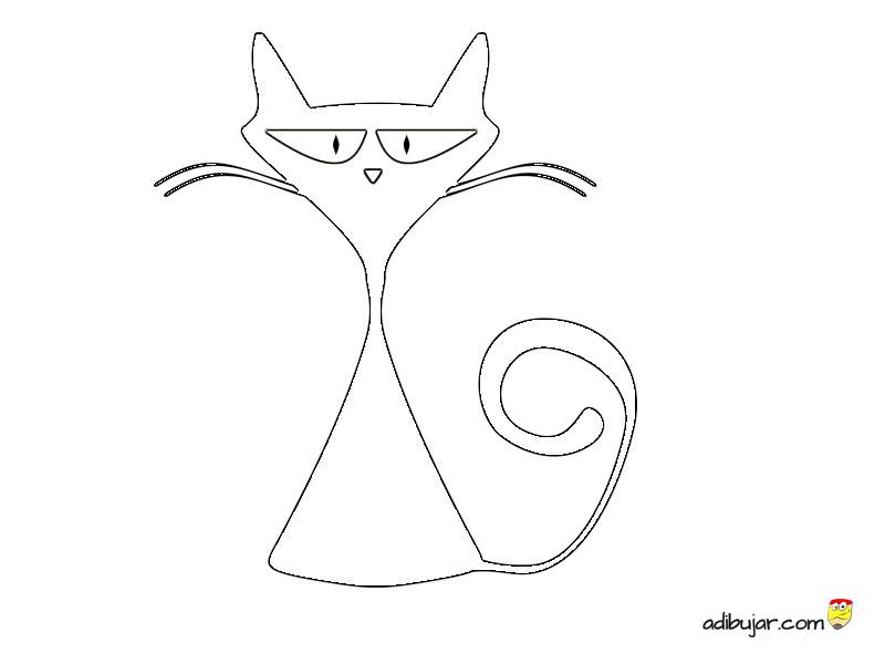 Gatos para imprimir y colorear. Dibujos para niños | adibujar.com