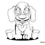 Dibujo infantil de perro tierno para colorear