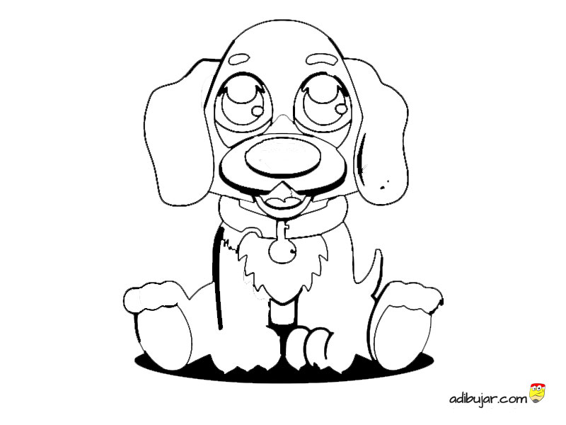 Tierno perrito kawaii para colorear e imprimir. | adibujar.com