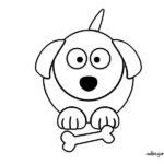 Perro con hueso para imprimir y colorear