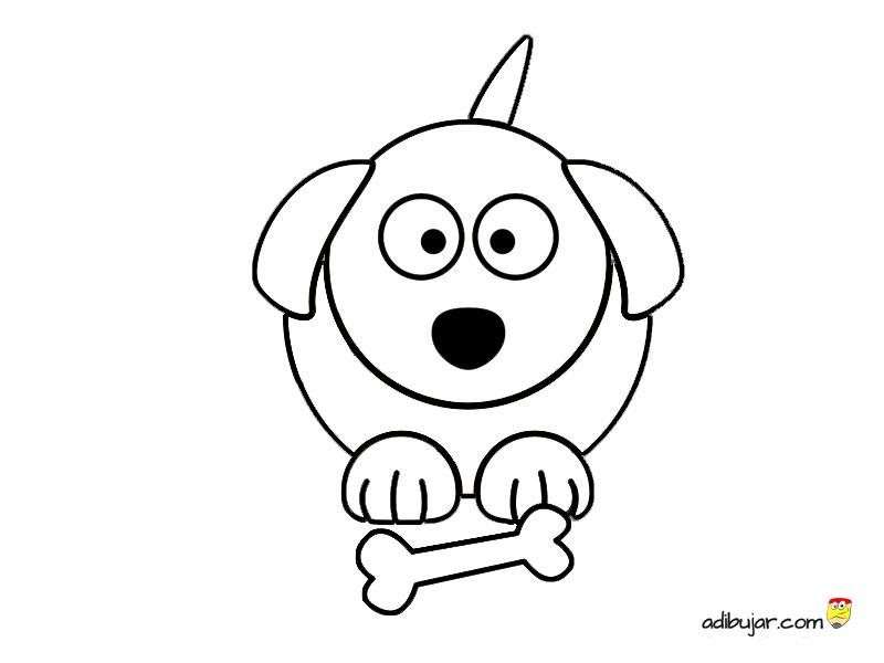 Dibujo de perro con hueso para imprimir y colorear | adibujar.com