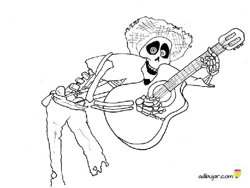 Miguel Coco Para Colorear: Coco La Pelicula: Dibujo Para Colorear De Héctor