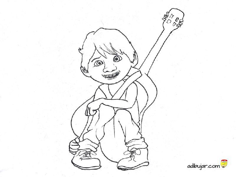 Coco, la pelicula: dibujos para colorear a Miguel Rivera | adibujar.com