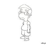 Milhouse dibujo en blanco y negro