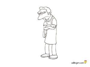 Dibujo para colorear de Moe de los Simpsons