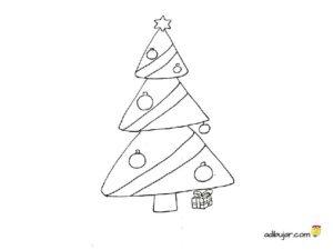 Árbol de navidad, imagen para colorear y decorar