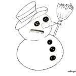 Dibujo de muñeco de nieve para imprimir, colorear, recortar y decorar